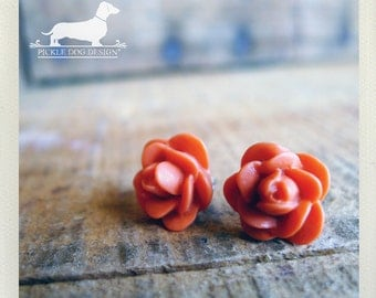 CLEARANCE! Coral Orange. Rosebud Post Earrings -- (Vintage-Style, Orange, Flower Studs, Romantic, Gift Under 5, Summer, Bridesmaid Gift)
