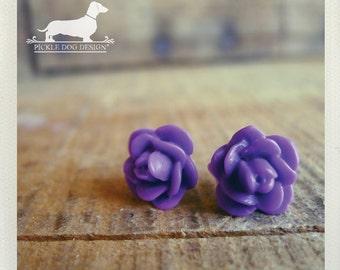 CLEARANCE! Purple Passion. Rosebud Post Earrings -- (Vintage-Style, Violet, Flower Stud, Roses, Romantic, Feminine, Bridesmaid Gift Under 5)
