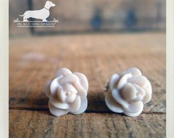 CLEARANCE! Ivory Bride. Rosebud Post Earrings -- (Shabby Chic, Flower Earrings, Bridal Jewelry, Feminine, Rose Studs, Romantic Gift Under 5)