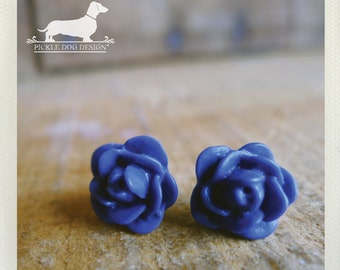 CLEARANCE! Blueberry. Rosebud Post Earrings -- (Vintage-Style, Navy Blue, Flower Studs, Bridesmaid Jewelry, Shabby Chic, Cute Gift Under 5)