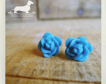CLEARANCE! Turquoise. Rosebud Post Earrings -- (Vintage-Style, Blue, Teal, Feminine, Shabby Chic, Bridesmaid Jewelry, Birthday Gift Under 5)