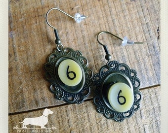 CLEARANCE! Lucky Number 6. Dangle Earrings -- (Vintage Style, OOAK, Classic, Number Earrings, Rustic, Cute, Birthday Gift for Her Under 10)