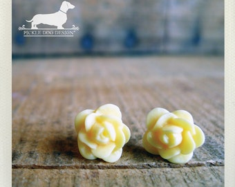 CLEARANCE! Dawn's Dew. Rosebud Post Earrings -- (Vingage-Style, Yellow Roses, Flower Rose Studs, Cute, Shabby Chic, Bridesmaid Gift Under 5)