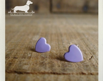 DOLLAR DEAL! I Heart You. Purple Heart Post Earrings -- (Lavender, Ultra Violet Valentine, Shabby Chic, Love, Cute Bridesmaid Gift Under 5)