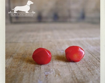Red Rocks. Post Earrings -- (Red, Studs, Small, Cute, Red Posts, Bright, Geometric, Simple, Modern, Simple, Birthday Gift For Her Under 10)