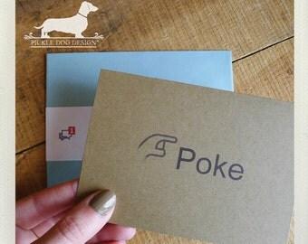Poke. Note Card -- (Funny Card, Humorous, Geeky, Facebook, Unisex, Simple, Valentine Card, Brown Kraft Paper, Facebook, Cute, Blue Envelope)