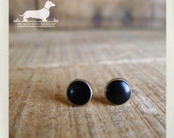 Onyx. Post Earrings -- (Black, Silver, Small, Simple, Modern, Minimalist, Classic, Round, Black Studs, Vintage Style, Unisex, Gift Under 10)