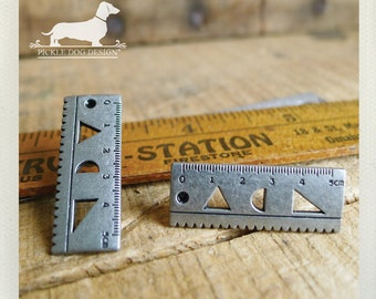 Geometric. Ruler Post Earrings -- (Vintage Style, Antiqued Silver, Ruler, Geeky, Funky, Fun, Unique, Teacher, School, Gift For Her Under 15)