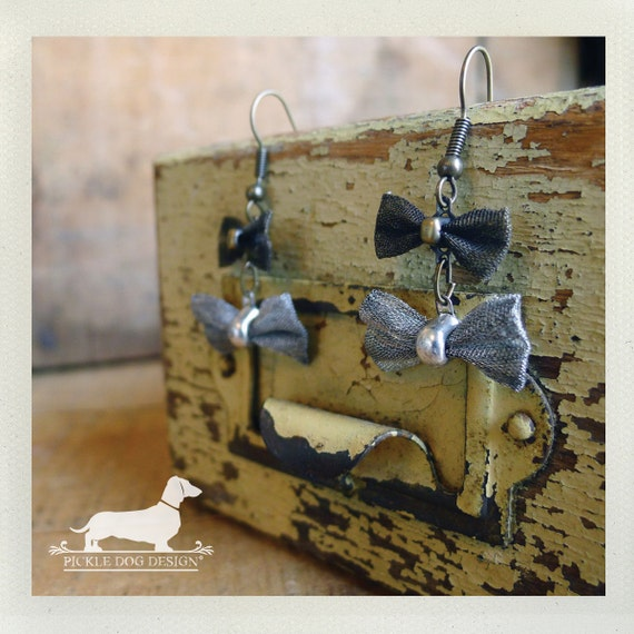 Double Bow Tie. Dangle Earrings -- (Vintage-Style, Cute, Feminine, Antiqued Silver, Brass, Bow Tie, Gift for Her Under 10)
