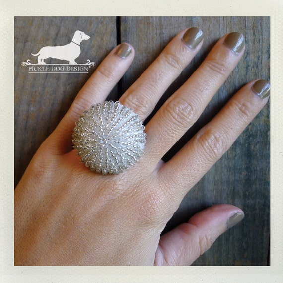 CLEARANCE! Jellyfish. Adjustable Ring -- (White, Beaded, Clear, Glass, Geometric, Vintage-Style, Ivory, For the Bride, Summer, Gift for Her)