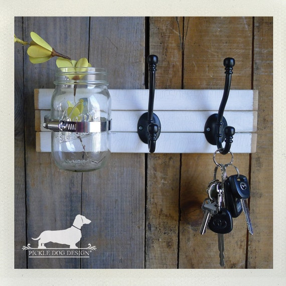 Shutter Slat Wall Organizer. (No. 5) -- (White, OOAK, Vintage-Style, Wood, Rustic, Shabby Chic, Country Farmhouse, Vase, Jewelry Holder)