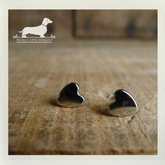 I Heart You. Silver Heart Post Earrings (Heart, Silver, Small, Mirror, Modern, Minimalist, Bridesmaid Jewelry, Simple, Cute, Gift Under 10)