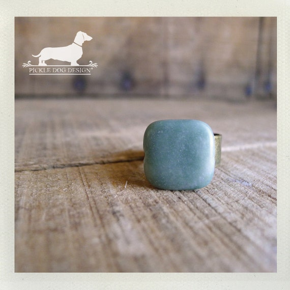 Jade. Adjustable Ring -- (Square, Seafoam, Vintage Blue, Simple, Classic, Vintage-Style, Everyday Jewelry, Gift Under 10)