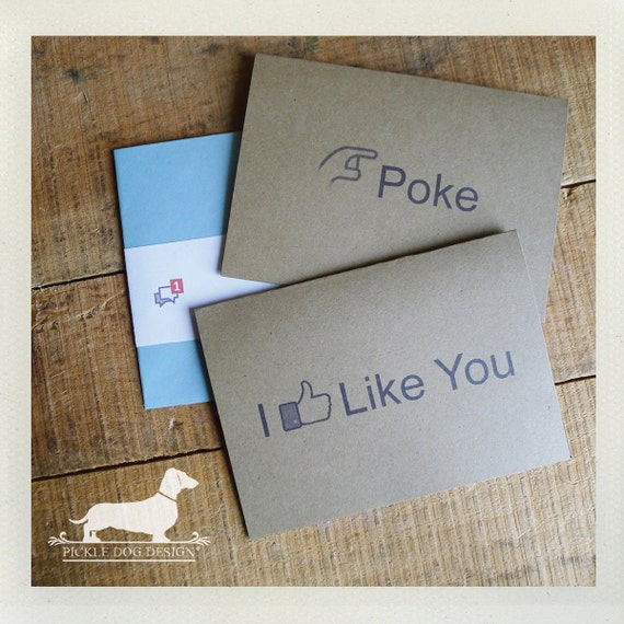 Facebook Addict. Note Cards (Set of 4) -- (Funny Cute Card, Humorous, Geeky, Facebook, Simple, Valentine Card, Thumbs Up, I Like You, Poke)