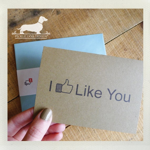 I Like You. Note Card -- (Valentine Card, Funny Card, Humorous, Geeky, Wedding, Friend, Facebook, Simple, Brown Kraft Paper, Blue Envelope)