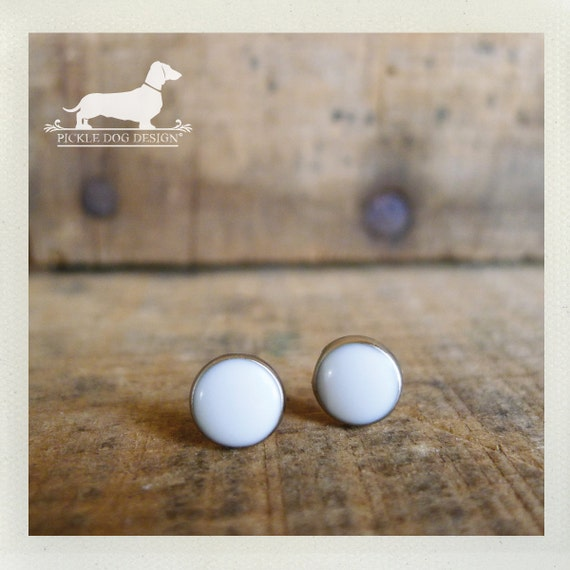CLEARANCE! White Out. Post Earrings -- (White, Silver, Small, Simple, White Studs, Summer, Circle Studs, Vintage-Style, Unisex Gift Under 5)