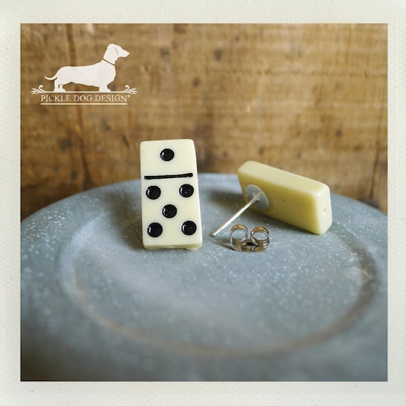 CLEARANCE! Lil Domino. Post Earrings -- (Vintage-Style, Game Piece, Classic, Simple, Geeky, Cute, Fun, Polka Dots, Unisex Gift Under 5)