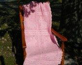 handmade crocheted baby afghan with pink bunny rabbits