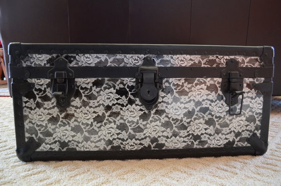 Upcycled vintage trunk in lace, OOAK repurposed tool chest