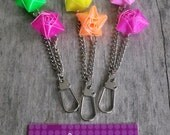 Pink and Green Mix Recycled Straw Star Charm Keyring