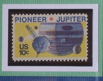 Vintage Framed Postage Stamp - Pioneer 10 - No. 1556