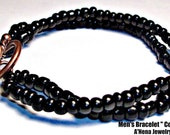 """Men's Double Strand Bracelet  """"Control """"  Hematite And A  Copper Toggle  Clasp"""