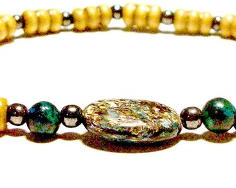 """Unisex  Bracelet: Hematite, Squama, Turquoise & Wood """"New Year, New Me!"""" For Her and For Him"""