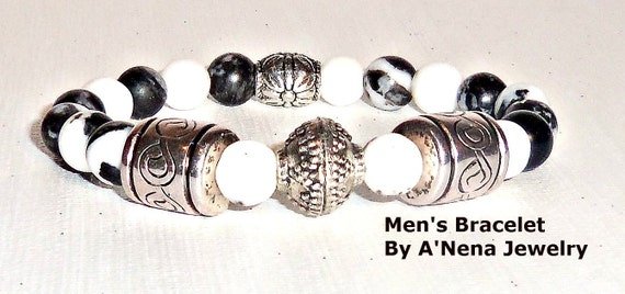 "Mens  Bracelet  "" Shine "" Rare Genuine Zebra Jasper, and Silver plated Copper"