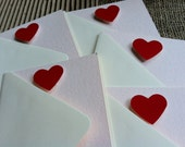 "Ruby Red Love Notes, Set of Five (5), 3 1/2"" x 4 7/8"", Light Pink Textured Paper with Hand Painted Red Gouache Hearts"