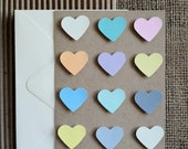 "Heart Chart, 4 1/4"" x 5 1/2"", Brown Bag Folded Card w/Hand Painted Pastel Gouache Hearts"