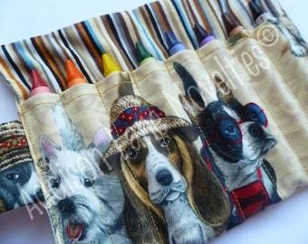 Beach Dogs Crayon Holder includes 8 Crayola crayons
