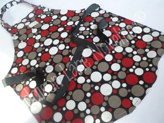 Reversible Child's Apron in Black, Red, Gray, & White Polka Dots and Stars