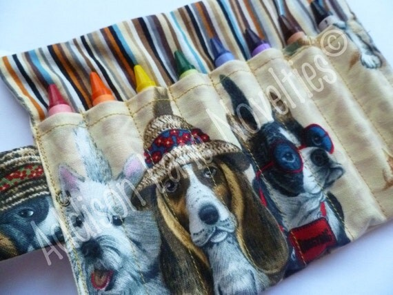 8 Crayola crayon holder in our Beach Dog fabric - crayons included