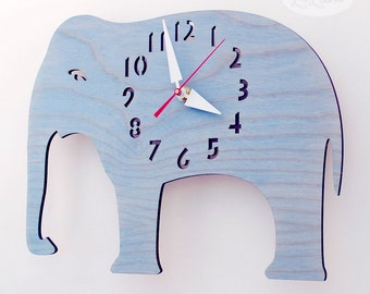 "The ""Big Baby Blue Elephant"" designer wall mounted clock from LeLuni"