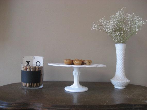 Stunning White Teardrop Milk Glass Cake Stand