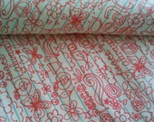 A  fat quarter cute drawing  on line paper print 100%  cotton