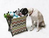 SALE ~ Aqua, Orange, Brown, & Lime Chevron Stripe Pet Toy Hamper with frame
