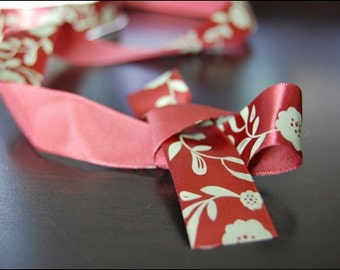 Brown Satin Antique Floral Ribbon 1 yd
