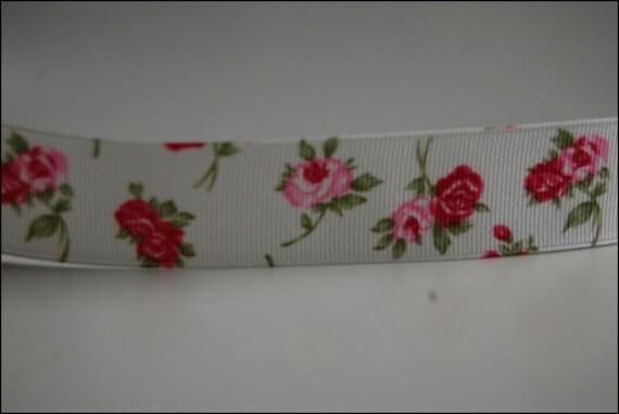 red rose printed ribbon 2 yd
