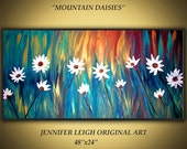 "Original Large Abstract Painting Modern Contemporary Canvas Art Gold Red Blue Floral ""MOUNTAIN DAISIES"" 48x24 Texture Oil by J.LEIGH"