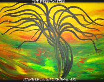 The Weeping Tree......Very Large Original Abstract Painting Modern Contemporary Canvas Art Green Yellow Orange Black Tree Oil  J.LEIGH