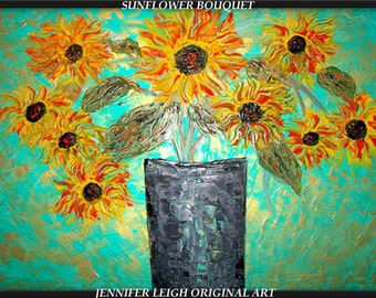 SUNFLOWER BOUQUET...Original Large Abstract Painting Modern Contemporary Canvas Art Turquoise Yellow Gold Floral Oil by J.LEIGH