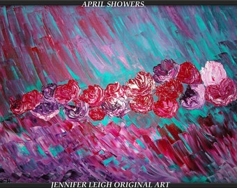 APRIL SHOWERS......Very Large Abstract Painting Modern Contemporary Original Canvas Art Red Blue Pink Floral Art Oil Texture  by J.LEIGH