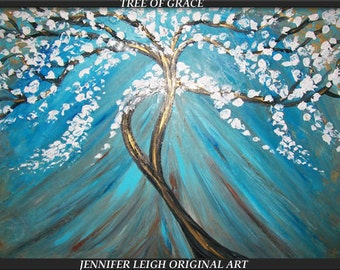 TREE of GRACE.... Original Large Abstract Painting Modern Contemporary Canvas Art 36x24 Blue White Brown Oil Texture  J.LEIGH