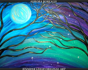"""Made to Order Original Large Abstract Painting Modern Canvas Art  36x24 Blue Moon Purple  """"AURORA BOREALIS"""" Texture Oil  J.LEIGH"""