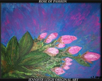 """Original Large Abstract Painting Modern Contemporary Canvas Art  """"PINK ROSES"""" Blue Green  Pink Oil 18"""" Texture  J.LEIGH"""