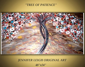 Original Large Abstract Painting Modern Contemporary Canvas Art Gold White Earth Tones Tree Floral Blue Orange 48x24 Texture Oil by J.LEIGH