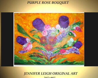"""Original Abstract Painting Modern Contemporary Original Canvas Art Orange Purple Pink 24"""" Oil by J.LEIGH"""