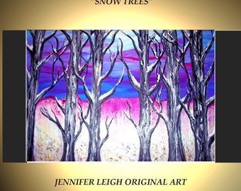 "Original Large Abstract Painting Modern Contemporary Canvas Art Blue White Purple ""SNOW TREES"" Texture Oil  J.LEIGH"