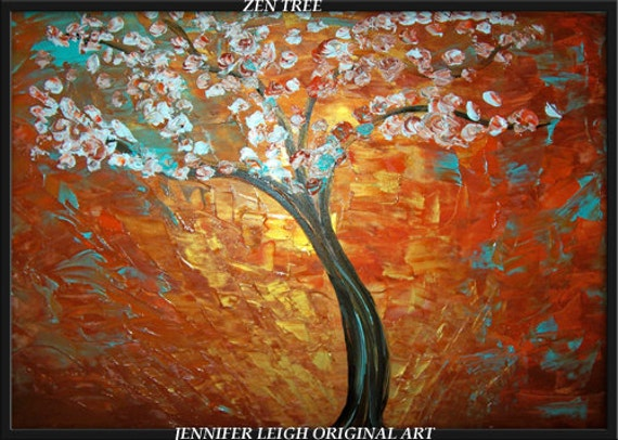 TREE of GALILEE....Original Large Abstract Painting Modern Contemporary Texture 36x24 Canvas Art  Blue Brown Gold White Tree Oil by J.LEIGH
